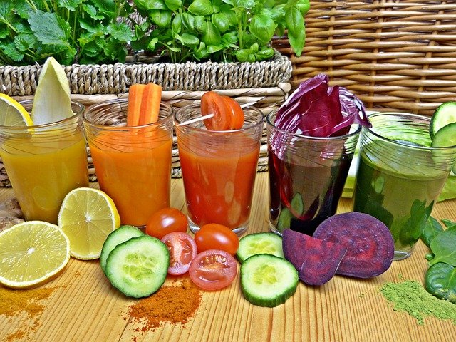 different juices in different glass